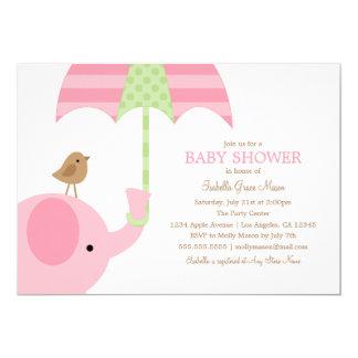 Babyparty des Baby-rosa Elefant-| laden ein 12,7 X 17,8 Cm Einladungskarte
