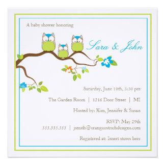 Babyparty-Einladung - Eulen-Familie