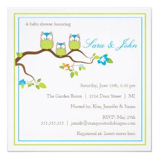 Babyparty-Einladung - Eulen-Familie Quadratische 13,3 Cm Einladungskarte