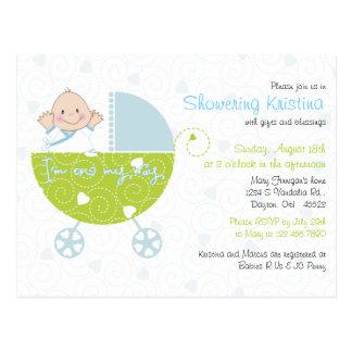Babyparty-Einladung für Baby-Blau-Wagen Postkarte