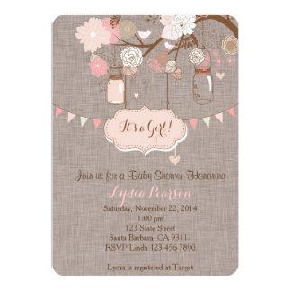 Babyparty-Einladung für Mädchen mit Weckglas Karte