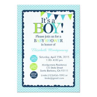 Babyparty-Einladung ist es ein Junge! Aqua, Grün Karte