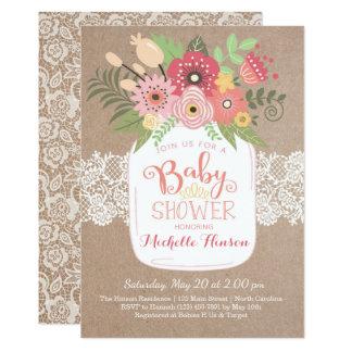 Babyparty-Einladung, Land Kraftpapier und Spitze Karte