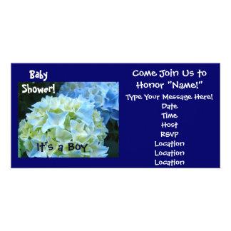 Babyparty! Einladungenblauer Hydrangea ist es ein  Photokartenvorlage