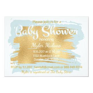 Babyparty-Einladungs-Blau/Gold 12,7 X 17,8 Cm Einladungskarte