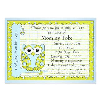 Babyparty-Einladungs-blaues Grün-Eule 12,7 X 17,8 Cm Einladungskarte