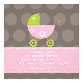 Babyparty-Einladungs-Rosa Personalisierte Ankündigungskarte