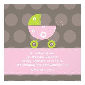 Babyparty-Einladungs-Rosa Quadratische 13,3 Cm Einladungskarte