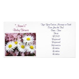 Babyparty-Einladungs-rosa Baum blüht Gänseblümchen Individuelle Foto Karte