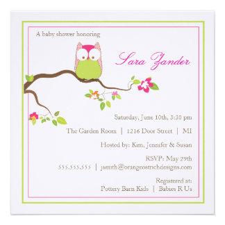 Babyparty-Einladungs-- rosa und grüne Baby-Eule Individuelle Einladungen