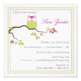 Babyparty-Einladungs-- rosa und grüne Baby-Eule Quadratische 13,3 Cm Einladungskarte