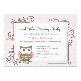 Babyparty-Eule laden ein 12,7 X 17,8 Cm Einladungskarte