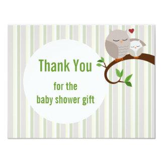 Babyparty-Eulen-Ebene danken Ihnen 10,8 X 14 Cm Einladungskarte