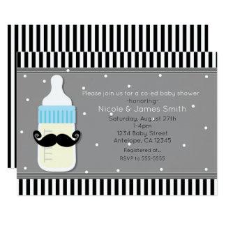 Babyparty-Flaschen-u. Schnurrbart-moderne 12,7 X 17,8 Cm Einladungskarte