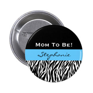 Babyparty für Jungemodernen Zebra-Druck Runder Button 5,7 Cm