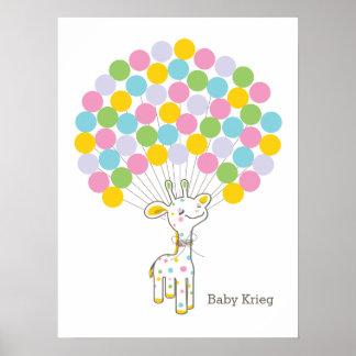 Babyparty-Gast-Buch-Druck der Baby-Giraffen-| Poster