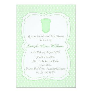 Babyparty grüne Tupfen und Babygrow 12,7 X 17,8 Cm Einladungskarte