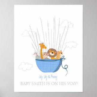 Babyparty Guestbook nimmt von Safariblau Poster