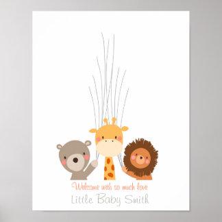 Babyparty Guestbookfingerabdruck Orangen-Safari Poster
