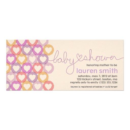 Babyparty-Herz-Einladungs-Mädchen Personalisierte Einladungskarten