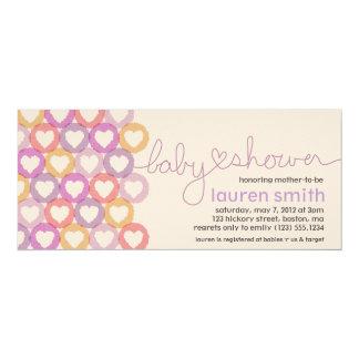 Babyparty-Herz-Einladungs-Mädchen 10,2 X 23,5 Cm Einladungskarte