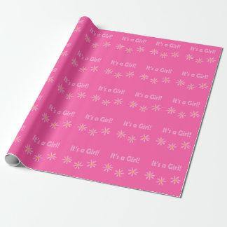 Babyparty ist es ein Mädchen-Rosa Blumen4carole Geschenkpapier