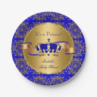 Babyparty-Junge Königsblau-Prinz-Crown Pappteller