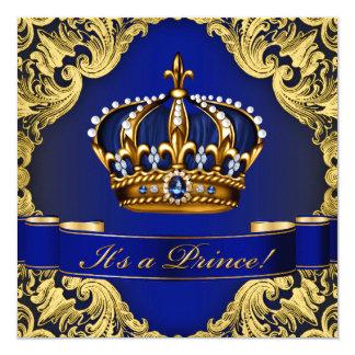 Babyparty Königsblau-Goldkronprinz-Junge Quadratische 13,3 Cm Einladungskarte