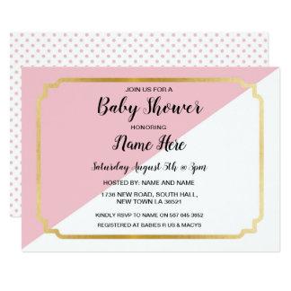 Babyparty laden rosa Goldelegante Punkte ein Karte