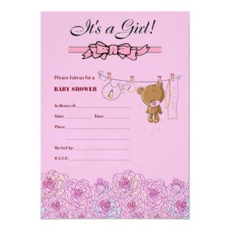Babyparty lädt für ein Mädchen ein 12,7 X 17,8 Cm Einladungskarte