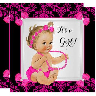 Babyparty-Mädchen-Damast-Pink-Schwarz-Blondine Karte