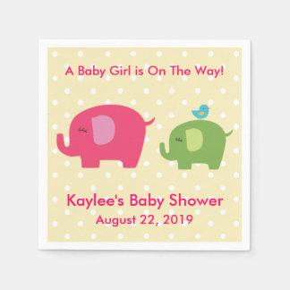 Babyparty-Mädchen-Elefant-Tupfen-Servietten Servietten