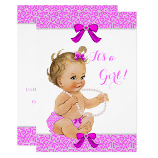 Babyparty-Mädchen-Pink-Leopard perlt Blondine Karte