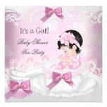 Babyparty-Mädchen-Rosa-Babyteacup-kleiner Kuchen Personalisierte Einladungskarten