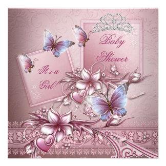 Babyparty-Mädchen-Rosa-Prinzessin Butterfly Individuelle Ankündigungen