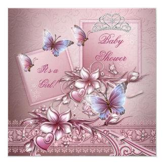 Babyparty-Mädchen-Rosa-Prinzessin Butterfly Quadratische 13,3 Cm Einladungskarte