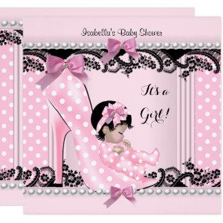 Babyparty-Mädchen-Rosa-Tupfen-Absatz-Schuh 4 Karte