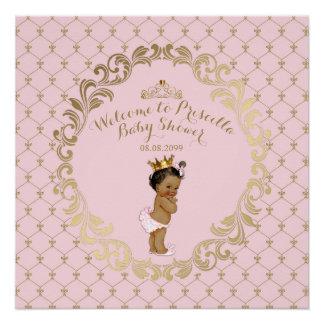 Babyparty MÄDCHEN, weich Rosa u. Gold, königlicher Poster