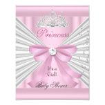 Babyparty-Mädchen-weiße rosa Prinzessin Tiara 10,8 X 14 Cm Einladungskarte