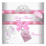 Babyparty-Mädchen-weiße rosa Prinzessin Tiara Personalisierte Einladung
