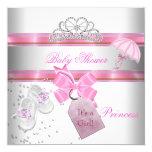 Babyparty-Mädchen-weiße rosa Prinzessin Tiara Quadratische 13,3 Cm Einladungskarte
