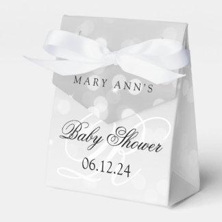 Babyparty-Monogramm-Silber Bokeh Schein-Lichter Geschenkschachtel
