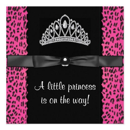 Babyparty Pink-Leopard-Prinzessin-Baby Individuelle Ankündigungskarte