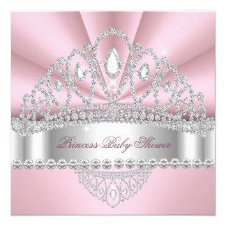 Babyparty Prinzessin-Pink White Diamond Tiara Quadratische 13,3 Cm Einladungskarte