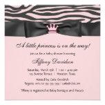 Babyparty Prinzessin-Tiara Pink Zebra Girl Personalisierte Ankündigungskarten