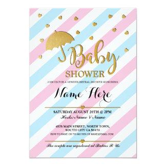 Babyparty-rosa blaues Geschlecht decken Zwillinge 12,7 X 17,8 Cm Einladungskarte
