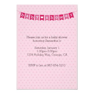 Babyparty-rosa Flaggen laden ein 12,7 X 17,8 Cm Einladungskarte