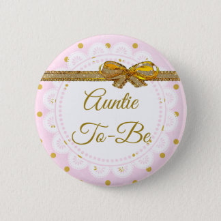 Babyparty-Rosa Tanten-To Be u. Goldknopf Runder Button 5,1 Cm