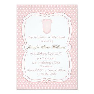 Babyparty rosa Tupfen und Babygrow 12,7 X 17,8 Cm Einladungskarte