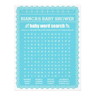 Babyparty-Spiel in blauem Papel Picado Flyer